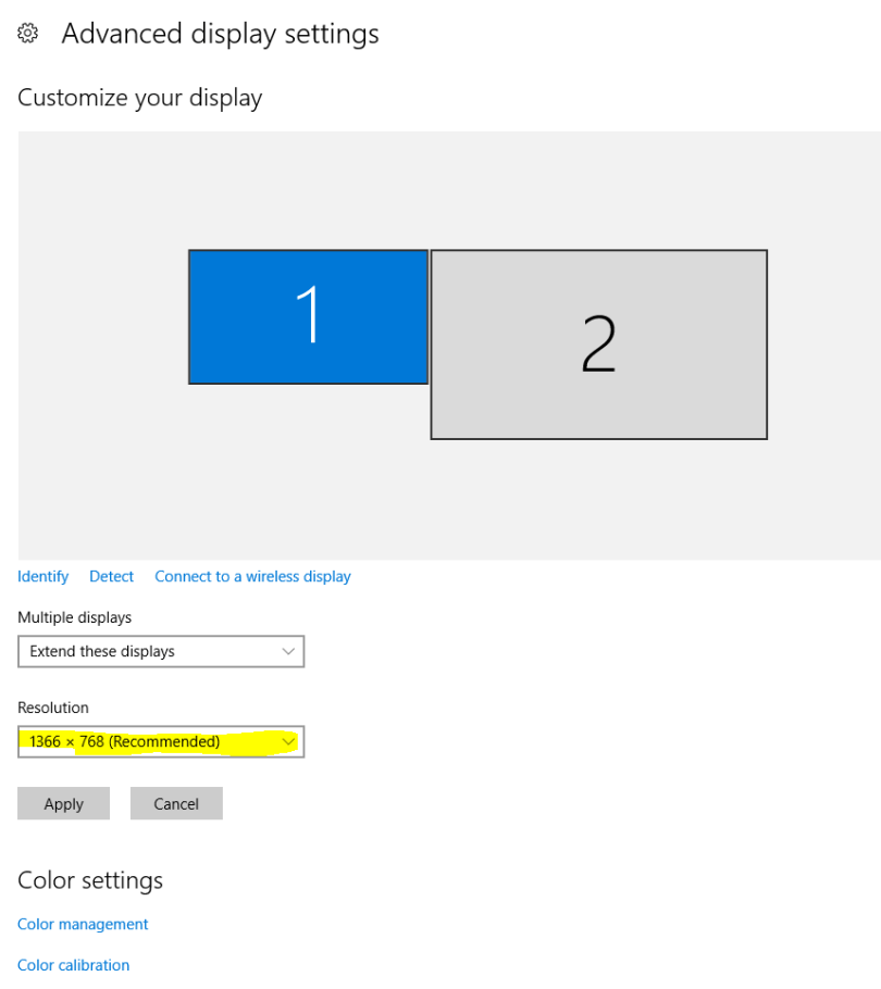 How to change screen resolution Windows 10