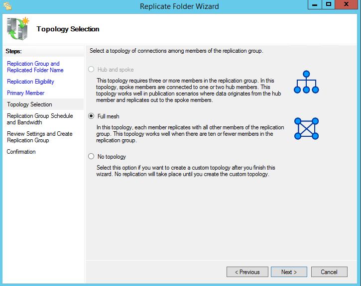 DFS folder replication wizard