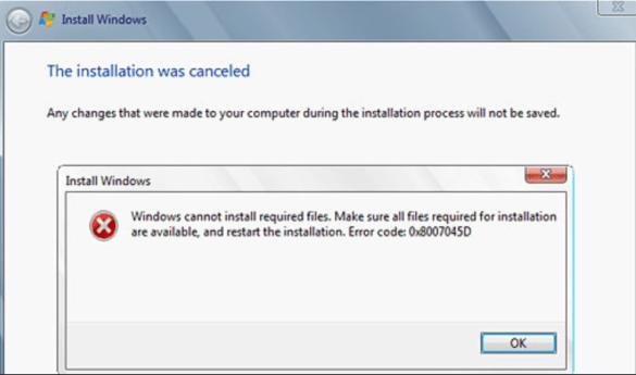 error 0x8007045d windows instation