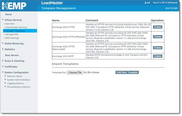 Kemp Virtual Load Balancer Add New Template B