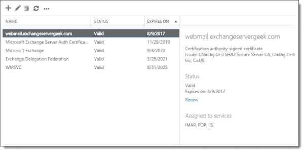 Renewing an Exchange certificate 10