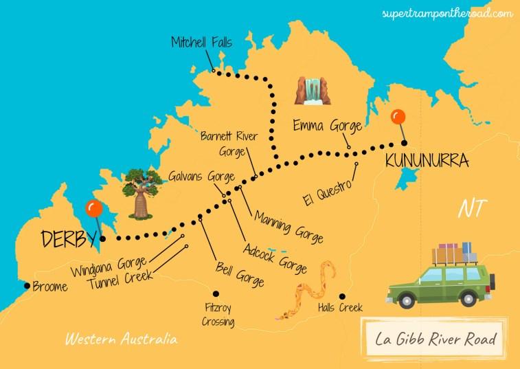 gibb river road carte itinéraire
