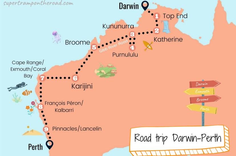 carte itinéraire road trip darwin-perth