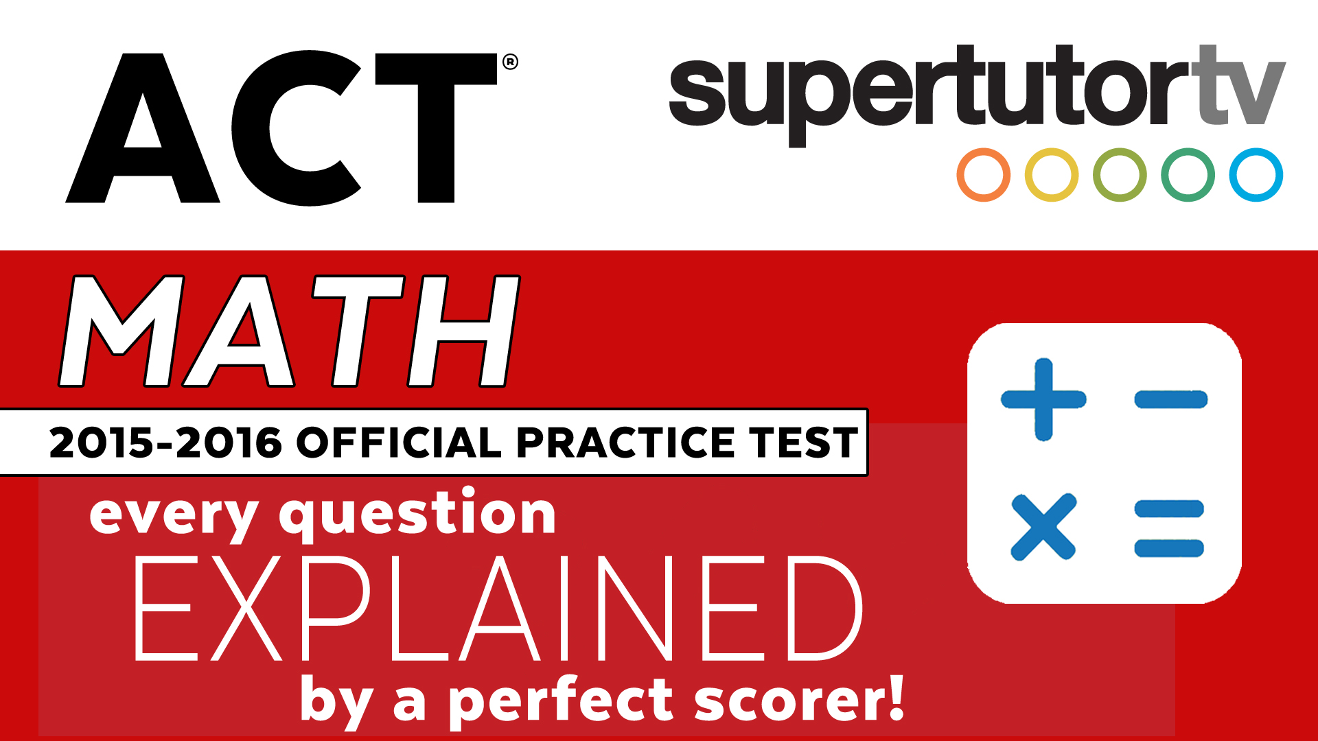 Free Video Explanations For Official Act Math Practice Test