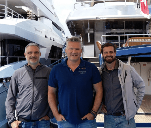 Erik. Van Wilsum of Martek CUAS with Gianluca Bardi and Emmanuelle Lipi of Global Yachting / GY Marine.