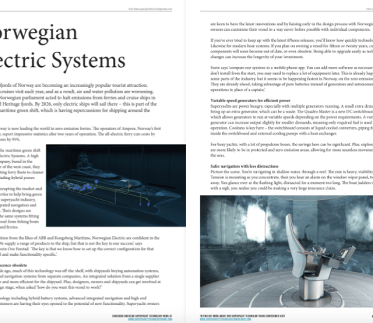 Norwegian Electric Systems in Superyacht Technology News Winter Blueprint 2019/2020