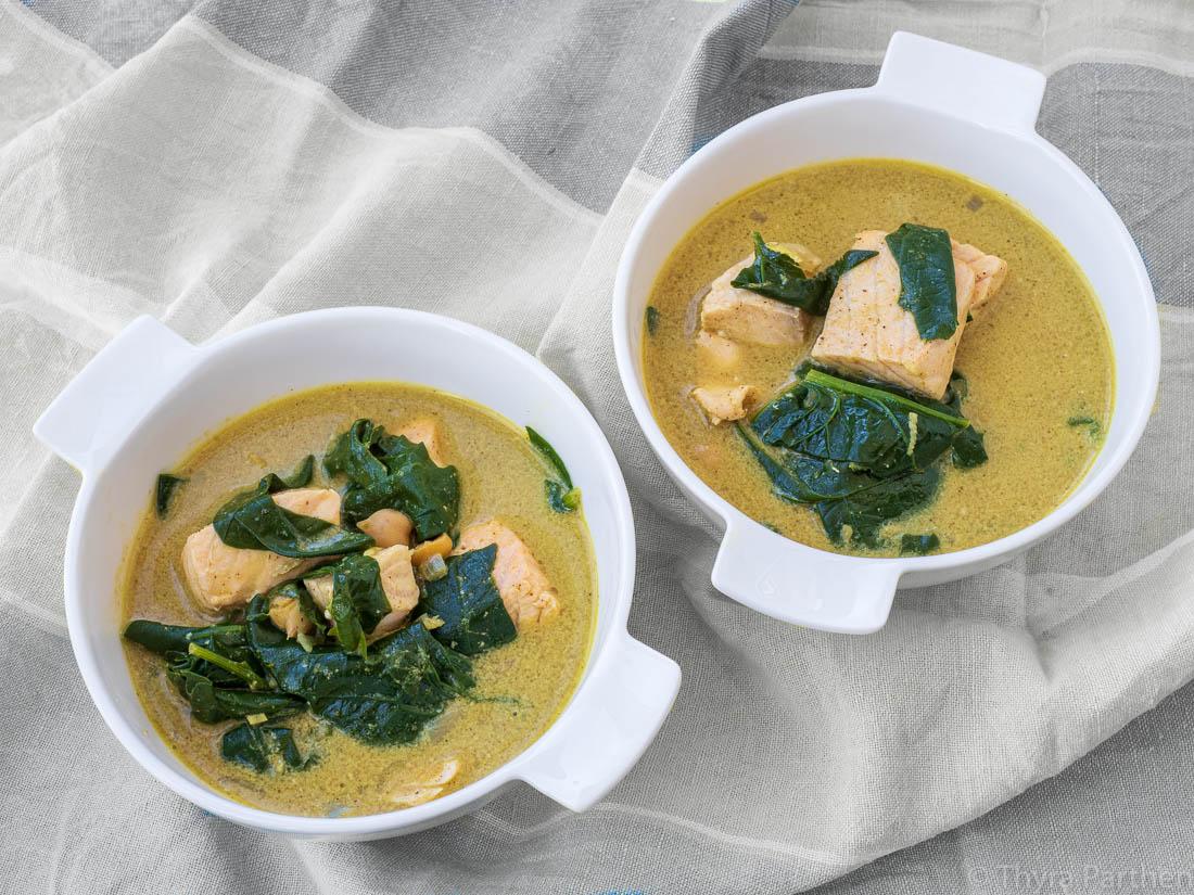 Lachs-Spinat-Eintopf mit Curry