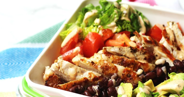 Chicken and Avocado Salad with blackbeans and smokey buttermilk dressing