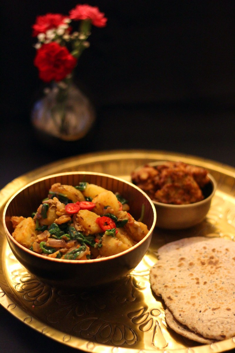 Saag Aloo, onion bhajis and chapattis essential for any Indian feast - recipe at Supper in the Suburbs