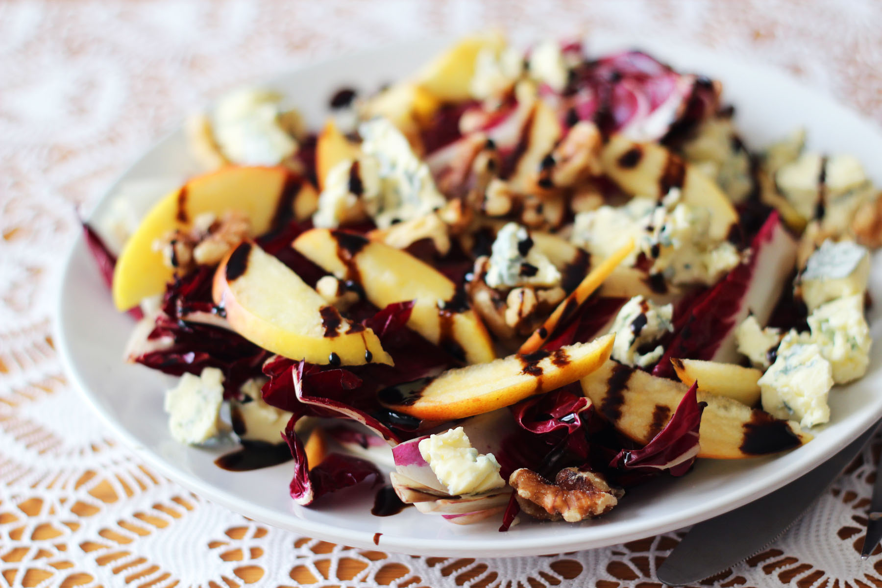 Griddled Chicory, Apple and Stilton Salad with Balsamic Glaze