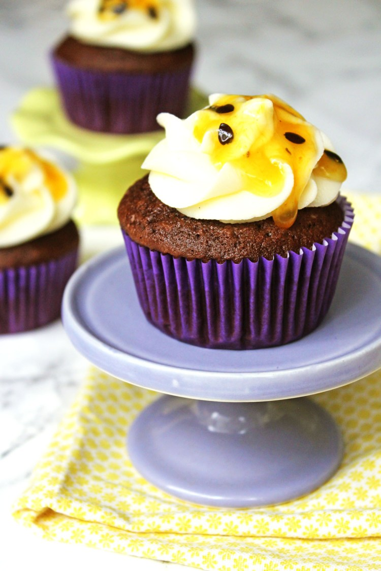 Dark Chocolate and Passion Fruit Cupcakes from Supper in the Suburbs