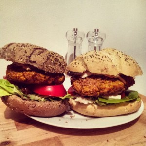 Carrot Coriander and Chickpea Burgers