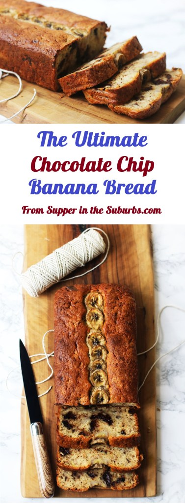 Big thick slices of the Ultimate Chocolate Chip Banana Bread are the perfect snack or pudding. I like to serve mine warm with ice-cream or greek yogurt. Get the recipe at Supper in the Suburbs!