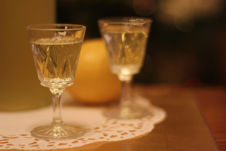 Glass of homemade limoncello