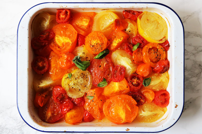 Roasted heritage tomatoes from The Tomato Stall in Isle of Wight straight out of the oven.