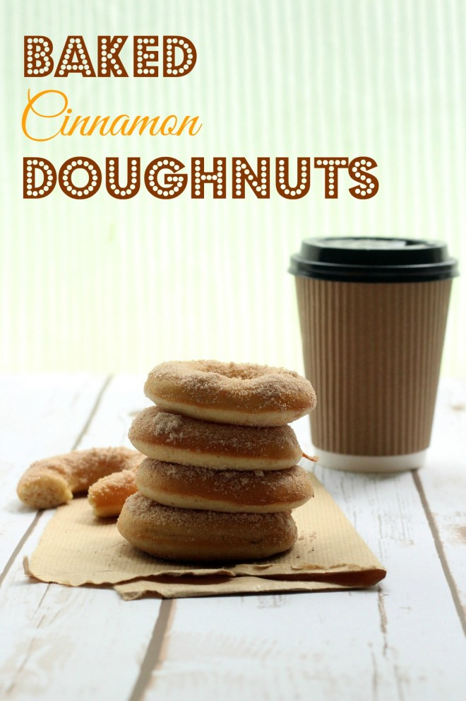Baked Cinnamon Doughnuts with a steaming cup of coffee