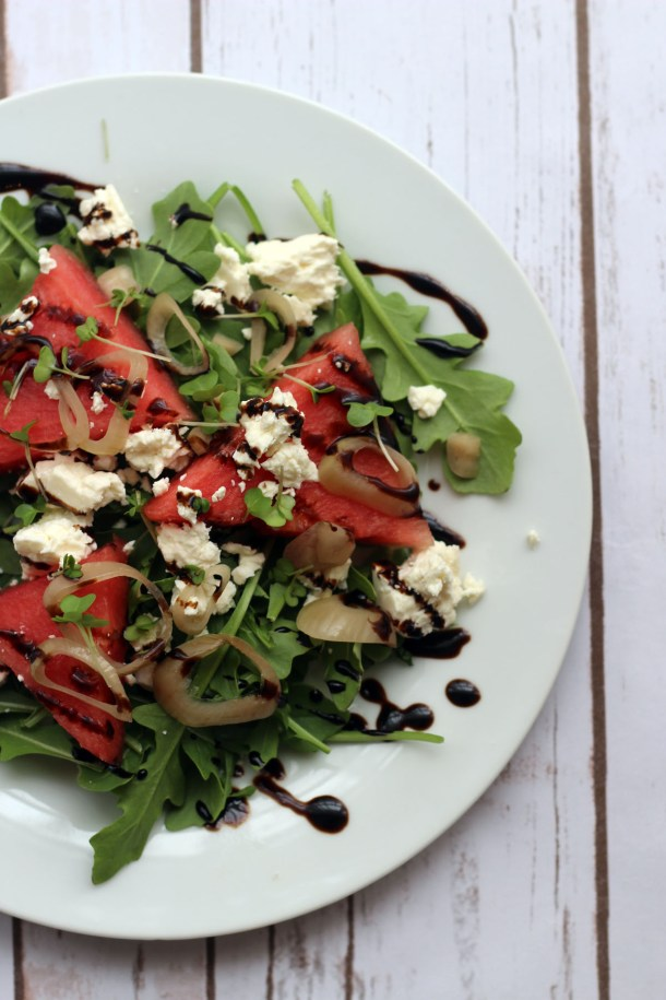 Watermelon Salad with Feta and Balsamic Glaze