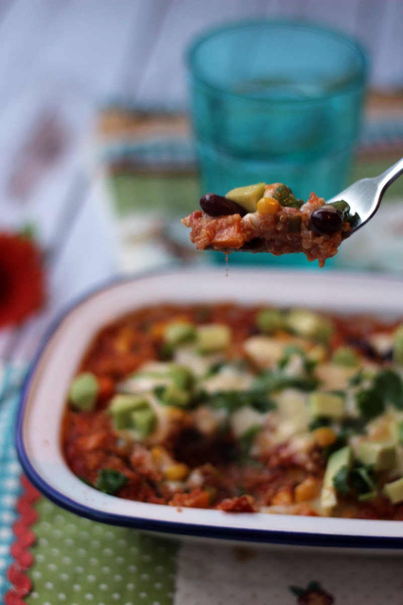 A forkful of Mexican Quinoa Bake from Supper in the Suburbs