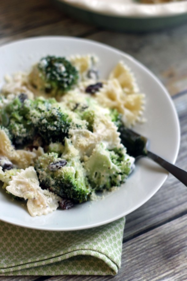 Dig in to this Broccoli and Raisin Pasta Salad from Supper in the suburbs