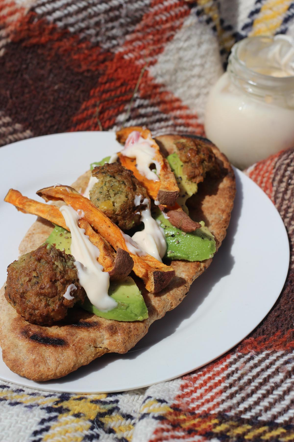 Falafel, Avocado and Sweet Potato Pittas with Chilli and Lime Mayo