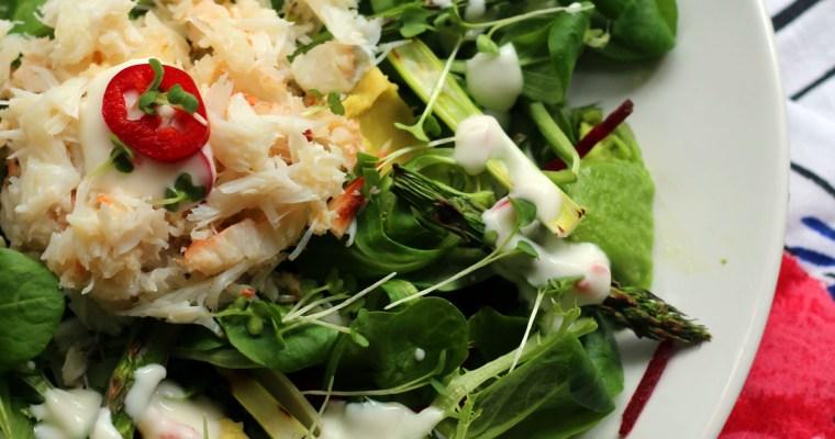 Crab and Avocado Salad with Lemon Yoghurt Dressing