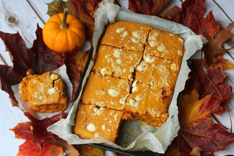 Pumpkin Spice Blondies with White Chocolate Chunks from Supper in the Suburbs