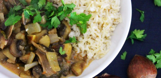 Chestnut Stroganoff with steamed rice and fresh parsley