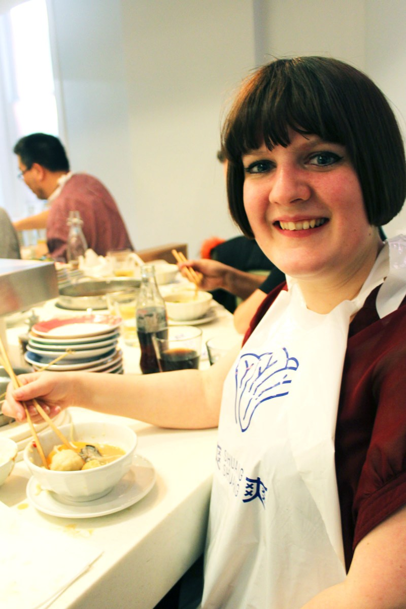 Enjoying my Pork Balls