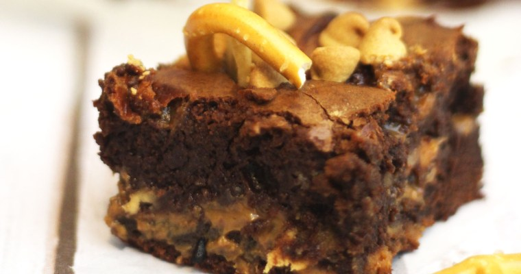 Fat Elvis Brownies stuffed with banana, pretzels and peanut butter