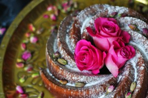 Rose and pistachio are two of the most important flavours in Persian Love Cake I choose to decorate my Persian Love Bundt with delicate rose buds and whole pistachios