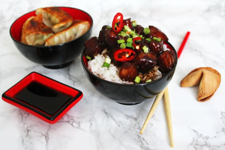 Celebrate Chinese New Year with a bowl of Sweet and Spicy Pork Belly on Steamed Rice Hong Shao Rou