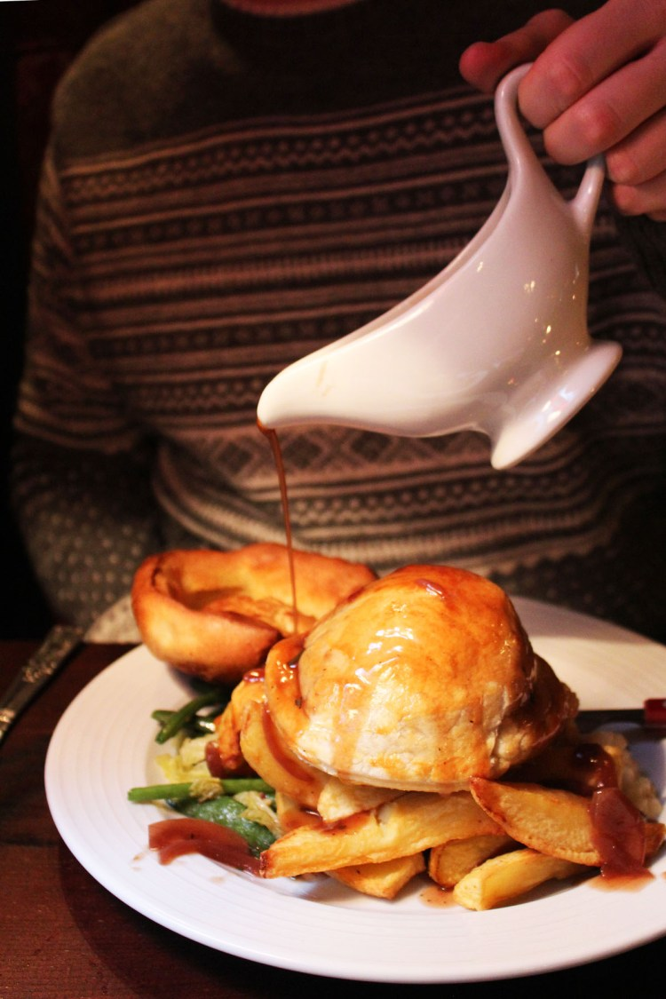 Onion gravy and vegetable wellington at The Ship Tavern
