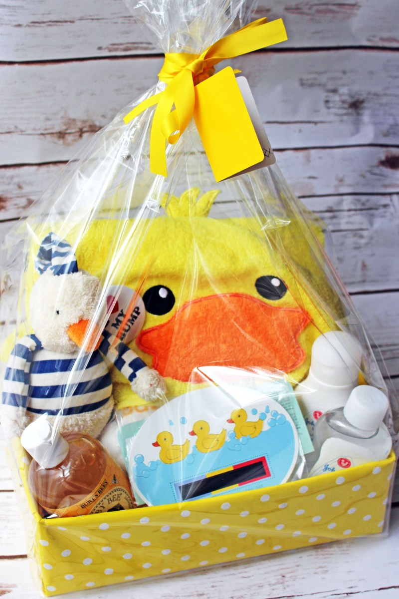 From baby lotion to rubby ducky towel this baby's bathtime gift hamper has everything you need to put together the perfect baby shower gift