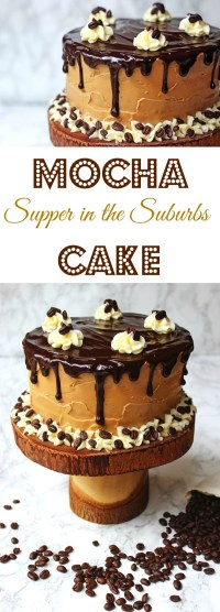 This stunning layer cake is my infamous Mocha Cake. Made with layers of coffee and vanilla sponge, coffee and vanilla buttercream and topped with dark chocolate ganache drips! Get the recipe at Supper in the Suburbs