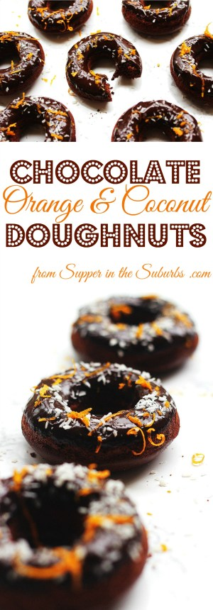 Baked Chocolate Orange and Coconut Doughnuts make a tasty afternoon snack, decadent breakfast or chocolatey treat just because. Get the recipe at Supper in the Suburbs
