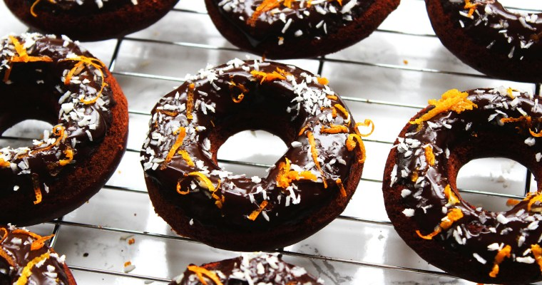 Baked Chocolate Orange and Coconut Doughnuts