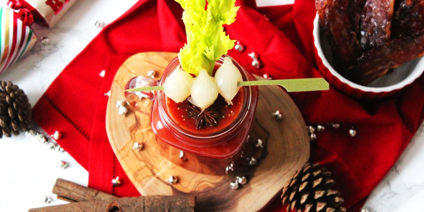 This Festive Bloody Mary is made with whisky and sherry as a fun twist on the classic brunch cocktail. Whetehr you serve it up at breakfast lunch or dinner it is ideal for curing a hangover!