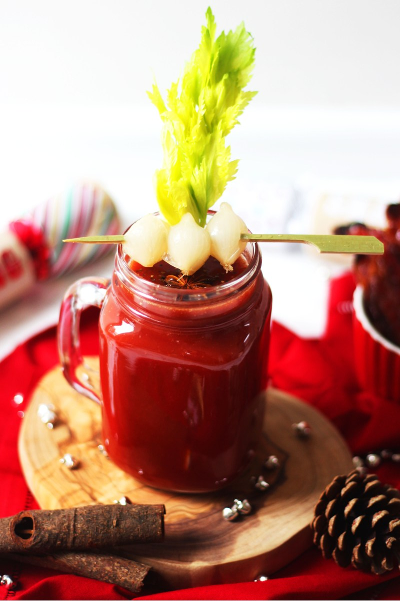 This Festive Bloody Mary is made with whisky and sherry as a fun twist on the classic brunch cocktail. Whetehr you serve it up at breakfast lunch or dinner it is ideal for curing a hangover! Get the recipe at Supper in the Suburbs!