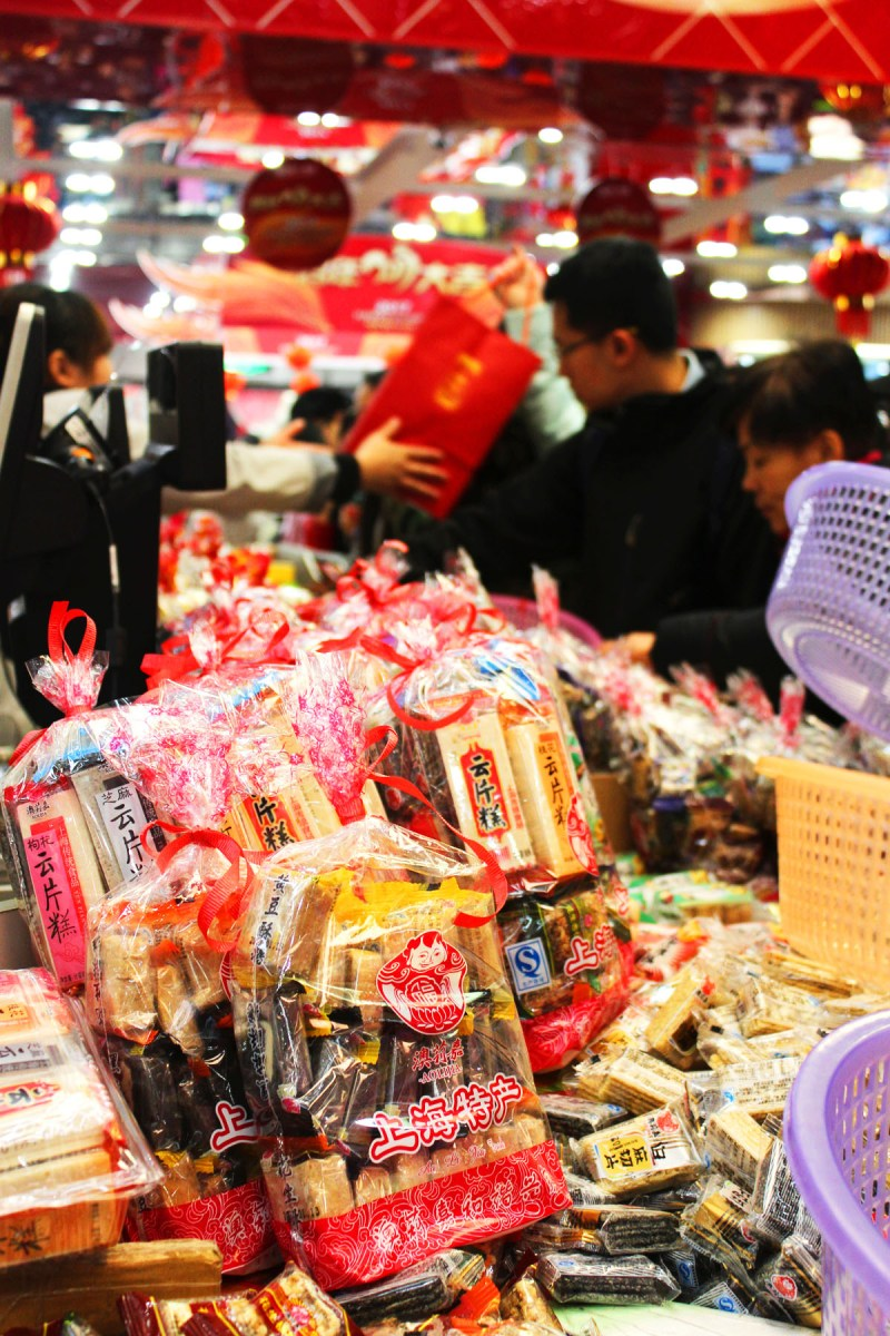 Buying trafitional Chinese New Year sweets, cakes and biscuits to share with the office when I return from my holiday to China
