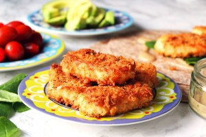 This crispy fried halloumi is just like the saganaki you get in Greece. Made with panko breadcrumbs it's crisp, salty, creamy and squeaky all at once! Get the recipe at Supper in the Suburbs!