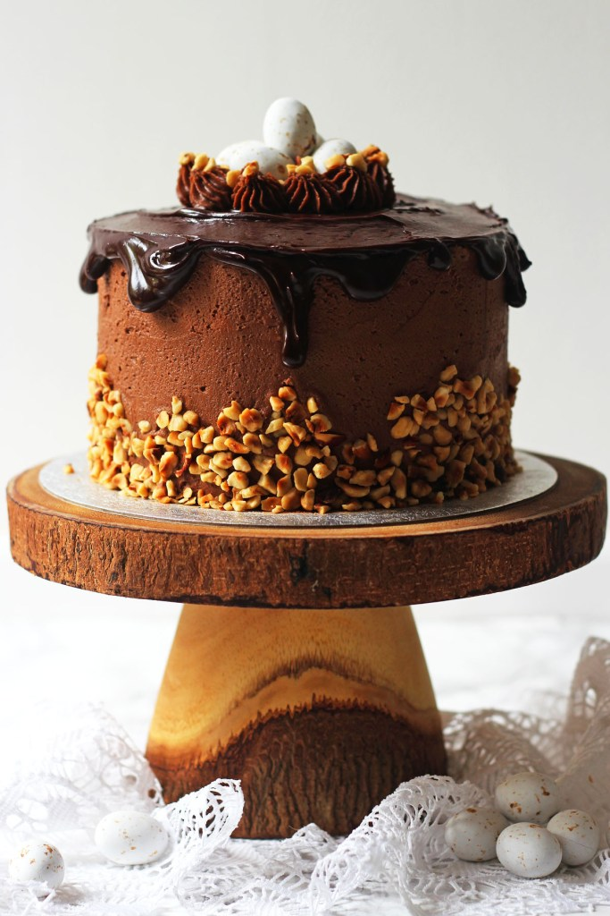 Praline Cake topped with ganache drip