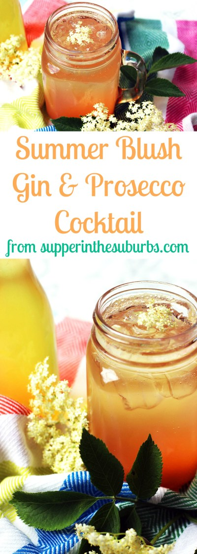 This Summer Blush, gin and prosecco cocktail is made with elderflower, pink grapefruit, gin and prosecco. It's a bittersweet British cocktail, perfect for summer!