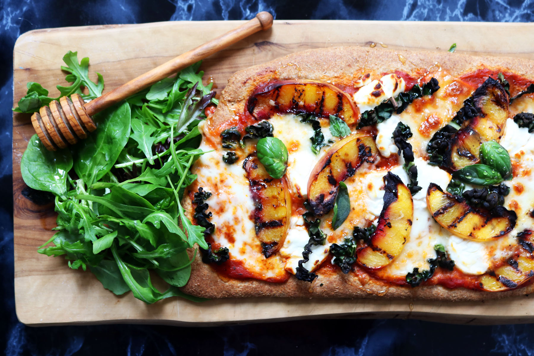 Kale and Nectarine Pizza