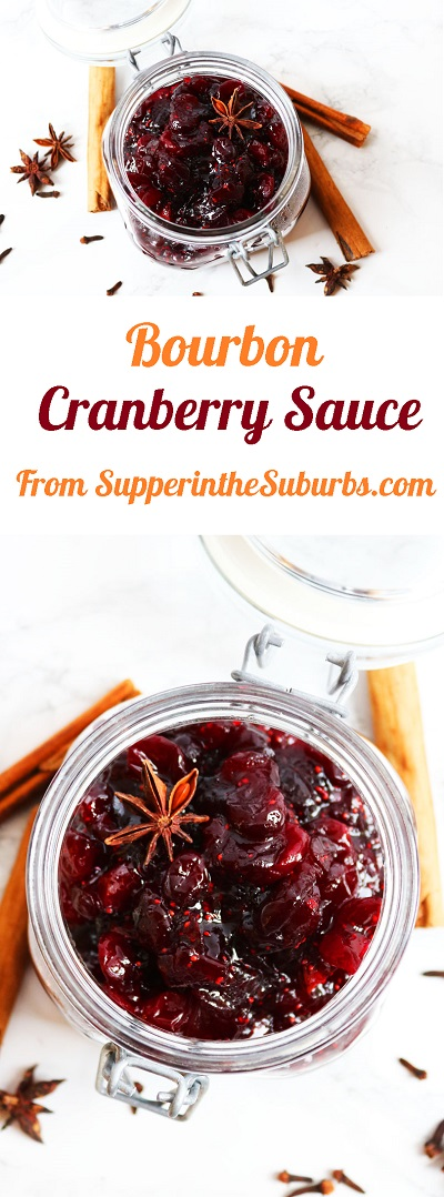 This Boozy Bourbon Cranberry Sauce is the ideal side dish for serving alongside turkey on Christmas or Thanksgiving! Find out how to make it at Supper in the Suburbs!