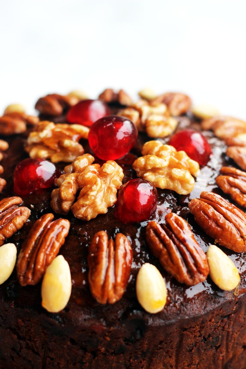Decorate Christmas Cake With Fruit And Nuts