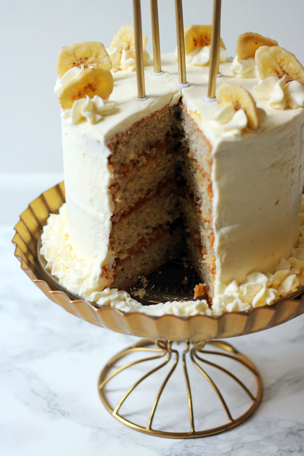 Banana Cream Cake cross section