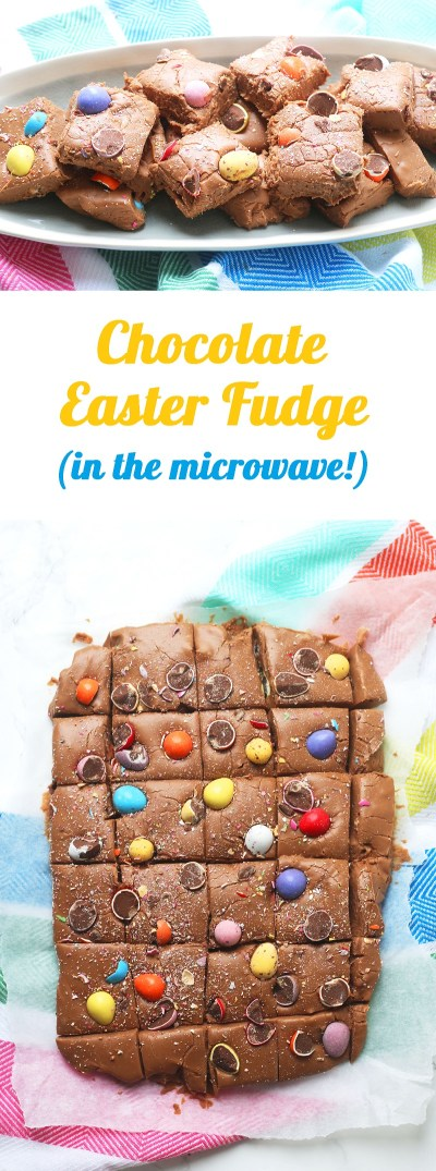 This easy chocolate Easter Fudge recipe is perfect for making with kids in the microwave!