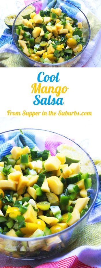 Cool Mango Salsa made with ripe mango, yellow tomatoes, spring oniones, coriander and cucumber
