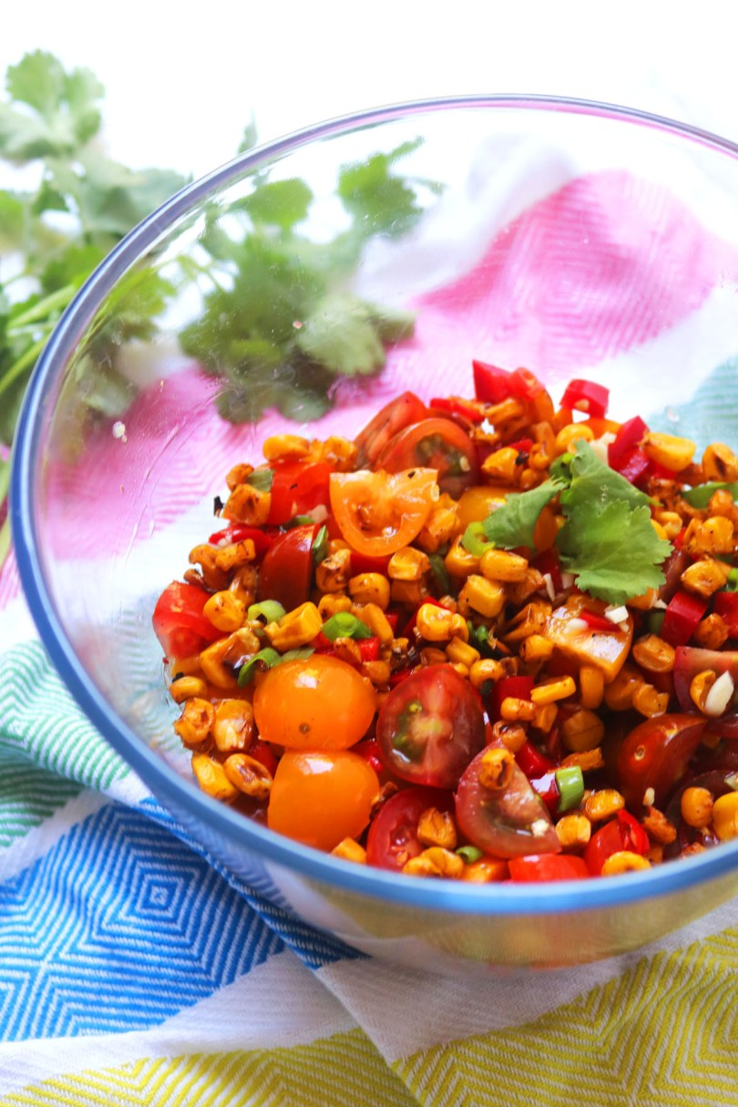 A large bowl of Fiery Roasted Corn Salsa