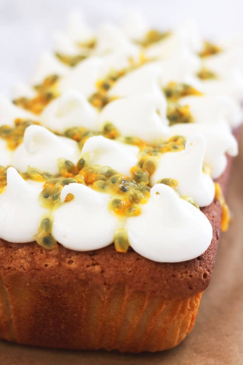 Close up of the passion fruit drizzle on a Coconut Loaf Cake